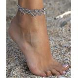 YUSHI Women's Anklets SILVER - Antique Silver-Plated Draped-Chain Anklet