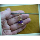 8 Mm Purple Amethyst Crystal Gem Dangle Hook Earrings For Women Statement Chunky Crystal Fashion Jewelry Gold