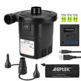AGPtEK USB Rechargeable External Electric Air Pump w/ 3 Nozzles for Inflatable Products in Black, Size 4.53 H x 3.94 W x 0.2 D in | Wayfair BP9B