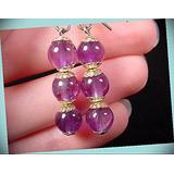 Three Bead Purple Amethyst Crystal Gem Dangle Hook Earrings For Women Statement Chunky Crystal Fashion Jewelry Silver