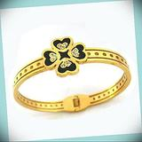 Gold Plated Stainless Steel Four Leaf Heart Statement Chunky Rhinestone Crystal Bangle Fashion Jewelry Bracelet For Women