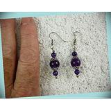 6 12 Mm Purple Amethyst Crystal 3 Bead Gem Dangle Earrings For Women Statement Chunky Crystal Fashion Jewelry Silver
