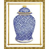 Vintage Print Gallery Geometric Vase II - Picture Frame Graphic Art Print on Paper Paper in Blue/Brown, Size 32.0 H x 26.0 W x 0.5 D in | Wayfair