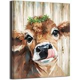 Country Farmhouse Bathroom Cute Cow Decor canvas print picture wall art retro style nice present Placed in Home Bedroom Office Study fireplace kitchen Bedroom Dining Room (14x18inch Canvas Only)