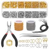 DYJKOUG Jewelry Necklace Chains, 2 Roll 2.0mm Jewelry Making Chains with 1260 Pcs Jump Rings, 40 Pcs Lobster Clasps, 10 Pcs Waxed Necklace Cords, Flat Nose Pliers, Curved Tweezer, Jump Ring Opener