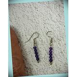 Five Bead Purple Amethyst Crystal Gem Dangle Hook Earrings For Women Statement Chunky Crystal Fashion Jewelry Silver