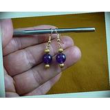 10 Mm Purple Amethyst Crystal Gem Dangle Hook Earrings For Women Statement Chunky Crystal Fashion Jewelry Gold