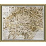 Vintage Print Gallery 'Paris' - Picture Frame Graphic Art Print on Paper Paper in Brown/White, Size 34.0 H x 40.0 W x 1.0 D in | Wayfair 5300-01G