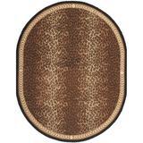 Safavieh Chelsea Animal Print Handmade Looped Wool Black/Area Rug Wool in Brown, Size 54.0 W x 0.25 D in | Wayfair HK15A-5OV