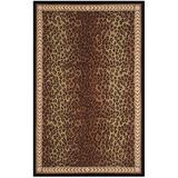 Safavieh Chelsea Animal Print Handmade Looped Wool Black/Area Rug Wool in Brown, Size 33.0 W x 0.25 D in | Wayfair HK15A-3