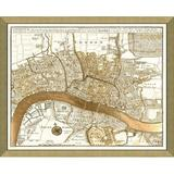 Vintage Print Gallery 'London' - Picture Frame Graphic Art Print on Paper Paper in Brown/White, Size 34.0 H x 40.0 W x 1.0 D in | Wayfair 5300-10G