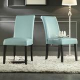 Birch Lane™ Leroux Upholstered Dining ChairFaux Leather/Upholstered in Blue, Size 39.2 H x 18.0 W x 24.0 D in | Wayfair