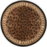 Safavieh Chelsea Animal Print Handmade Looped Wool Black/Area Rug Wool in Brown, Size 96.0 W x 0.25 D in | Wayfair HK15A-8R