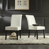 Birch Lane™ Leroux Upholstered Dining ChairFaux Leather/Upholstered in White, Size 39.2 H x 18.0 W x 24.0 D in | Wayfair