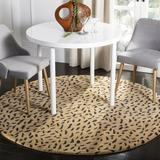 Safavieh Soho Animal Print Handmade Tufted Wool Beige/Area Rug Wool in Brown, Size 0.63 D in | Wayfair SOH721A-4R