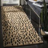 Safavieh Soho Animal Print Handmade Tufted Wool Beige/Area Rug Wool in Brown, Size 144.0 H x 30.0 W x 0.63 D in | Wayfair SOH721A-212