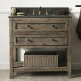 "Legion Furniture 36"" Single Bathroom Vanity Set Wood/Stone Top in Brown/Gray, Size 35.0 H x 35.2 W x 22.0 D in | Wayfair WH8036-BR"