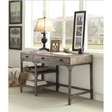 Williston Forge Gorden Desk In Weathered Oak & Antique Silver Wood/Metal in Brown/Gray, Size 29.0 H x 47.0 W x 24.0 D in | Wayfair