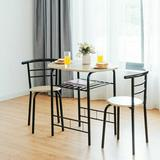 Latitude Run® 3 Pcs Home Kitchen Bistro Pub Dining Table 2 Chairs Set,Natural Wood/Metal in Brown, Size 32.0 W x 21.0 D in   Wayfair
