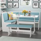 Red Barrel Studio® Olivia 3 - Piece Breakfast Nook Dining SetWood in Blue/Brown, Size 29.5 H x 27.25 W x 43.0 D in   Wayfair RDBT2633 41332618