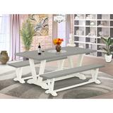 Gracie Oaks 4D24A6E5B399407D979A5F81D08EAC25 3 Piece Table Set - 1 Dining Table & 2 Benches - Linen White Table Top & Linen White Base FinishWood