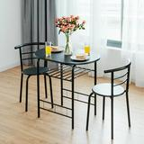 Latitude Run® 3 Pcs Home Kitchen Bistro Pub Dining Table 2 Chairs Set,NaturalWood/Metal in Black, Size 32.0 W x 21.0 D in | Wayfair