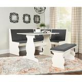 Red Barrel Studio® Olivia 3 - Piece Breakfast Nook Dining Set Wood/Upholstered Chairs in Gray/White, Size 29.5 H x 27.25 W x 43.0 D in   Wayfair