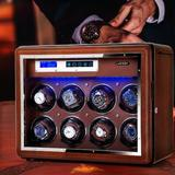 ZWISSLIV Automatic Watch Winder Diamond Decorated Walnut Vertical Watch Winders Box w/ Slots Adjustable Upgraded Watch Pillows For Men'S in Brown
