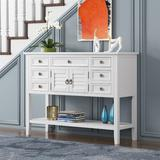 """Darby Home Co 45"""" Modern Console Table Sofa Table For Living Room w/ 7 Drawers, 1 Cabinet & 1 Shelf, Cream Wood in Blue 