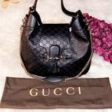 Gucci Bags | Gucci Black Leather Monogram Chain Strap Bag | Color: Black | Size: Os