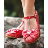 Trish Scully Child Girls' Ballet Flats - Red & Silvertone Glitter Queen of Hearts Mary Jane Dress Shoe - Girls