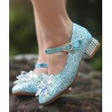 Trish Scully Child Girls' Ballet Flats - Light Blue Glitter Ice Queen Mary Jane Dress Shoe - Girls