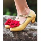 Trish Scully Child Girls' Ballet Flats - Goldtone & Red Glitter Magic Rose Mary Jane Dress Shoe - Girls