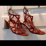 Kate Spade Shoes | Kate Spade Burgundy Suede Stacked Heel Sandals | Color: Pink/Purple | Size: 7.5