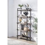 17 Stories 5 Levels Of Bookshelves, Rustic Oak & Black Wood/Steel in Gray, Size 68.0 H x 36.0 W x 12.0 D in | Wayfair