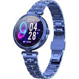 Blue Smart Watch Bracelet for Women Fitness Tracker Heart Rate Sleep Monitor Classic Dress Sport Watches for iOS Android Calorie Counter Pedometer Lady Activity Tracker