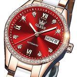 Self Winding Woman Watch Ladies Diamond Automatic Wrist Watches Ceramic Watches Red Rose Gold Watches Fashion Mechanical Female Watches Waterproof Date Luminous Elegant Classic Wristwatches