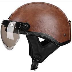 Motorradhelm Fashion Brain-Cap Vintage Halbhelm Roller-Helm Jethelm Mit Visier Für Roller Moped Scooter Street Cruiser Jet Style DOT Zertifizierter Helmhelmet 2,M=57~58cm