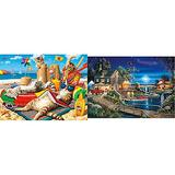 """Buffalo Games - Beachcombers - 750 Piece Jigsaw Puzzle Multicolor, 24"""" L X 18"""" W & Days to Remember - Autumn Memories - 500 Piece Jigsaw Puzzle, Blue,red, Brown, 21.25"""" L X 15"""" W"""