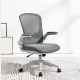 Swivel Chair for Home Office, Adjustable Computer Chair, Middle Back Lounge Chair, Fabric Dining Chair, Ergonomic Chair, 4 (Color : Gray)