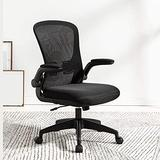 Swivel Chair for Home Office, Adjustable Computer Chair, Middle Back Lounge Chair, Fabric Dining Chair, Ergonomic Chair, 4 (Color : Black)