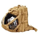 Seibertron Waterproof Large Capacity Molle Motorcycle Helmet Holder/Cycling Helmet Storage/Hiking Helmetcatch Bag/Backpack Also Fit Basketball Football Soccer Backpack Khaki
