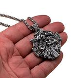 AMOZ Viking Odin Sword Raven Rune Pendant Necklace,Men Stainless Steel Warrior Cross Shield Amulet,Fashion Middle Ages Gothic Style Celtic Knot Norse Jewelry