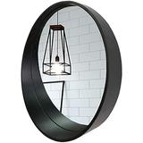 HLWJXS Mirror Bathroom Wall Mounted Makeup Mirror Mirrors Contemporary Wood Wall Mirror with Shelf for Living Room Unique Wall Décor Make-Up Vanity Mirror,A,Diameter 60cm