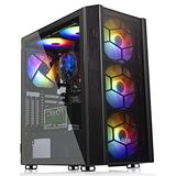 Gaming PC Case ATX Mid-Tower Computer Case with 6 PCS RGB Fans Opening Tempered Glass Panel & Mesh Front Panel Airflow Gaming PC Tower ATX Gaming Case USB2.0 USB3.0 Cooling System PC Case Support Micro ATX,ITX Black