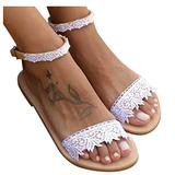 Sunggoko Sandals for Women Open Toe Outdoor Beach Womens Sandals Casual Flat Slipper Dressy Lace Flower Shoes
