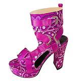 ZiSUGP Block Heel Sandals For Women Low Block Heel Sandal Black Chunky Heels Black Heeled Sandals Platform Sandles(Hot Pink 01,Size 6.5)