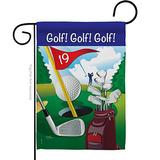 Breeze Decor Golf Golf!, Golf! Garden Flag Sports 18 Hole Ball Championship Club Entertainment Activity Physical Small Decorative Gift Yard House Banner Double-Sided Made in USA 13 X 18.5