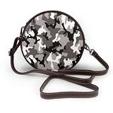 Small Cross Body Bag Black Grey White Camo Printed Purse With Chain Strap For Women, Fashion Circle Cellphone Round Purse