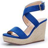 Erocalli Wedge Platform Espadrille Cross Ankle Strap Slingback Open Toe Summer High Heel Casual Sandals